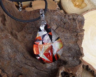 Glass Necklace Pendant Dichroic Pendant Fused Glass Necklace Gift for her Handmade Necklace Dichroic Jewelry Orange glass pendant Teardrop