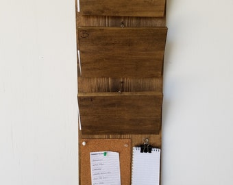 Command Center, Bills and Mail Sorter w/ Cork-board, Notepad, and Magnetic Key-holder
