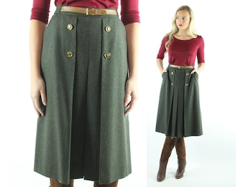 70s GUCCI Green Wool Skirt High Waisted Pleated Below the Knee Vintage 1970s Large L Designer Preppy Work
