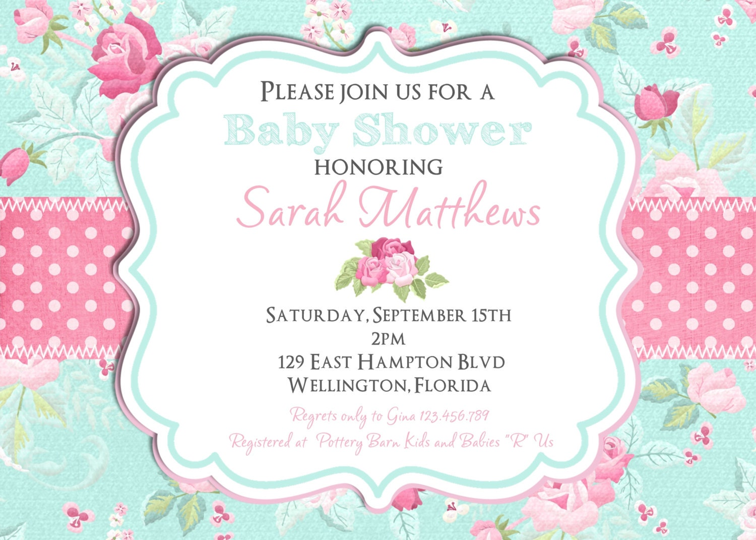 Shabby Chic Baby Shower Invitation Girl Baby Shower