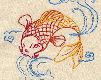 Little Koi Fish Embroidered on a Flour Sack Hand / Dish Towel