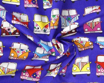 Handmade Cushion Cover - Rose & Hubble - VW Campervan Retro - Various Colours and Sizes Purple