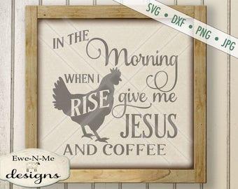 Jesus Coffee SVG - kitchen svg - farmhouse svg - rooster chicken svg  - Farm Kitchen SVG - Commercial Use svg cut file -  svg, dxf, png, jpg