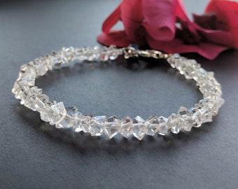Genuine herkimer diamond quartz beaded bracelet