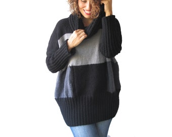 NEW! Gray Tones Hand Knitted Sweater with Accordion Hood and Pocket Plus Size Over Size Tunic - Dress Sweater by Afra