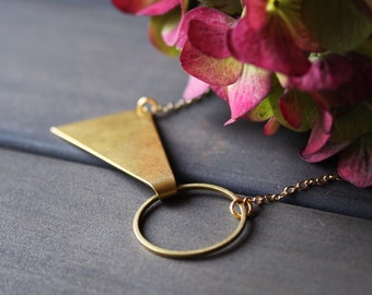 Gold geometric necklace short triangle necklace circle minimalist jewelry brass pendant necklace for women modern bow tie - Tegan Necklace