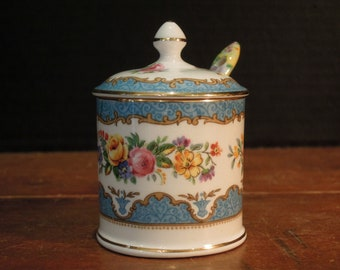 Antique / Vintage  Strawberry Jam Pot with Spoon Sugar Bowl Lid / England Stafforshire / Mini Canister / Chintz Spoon