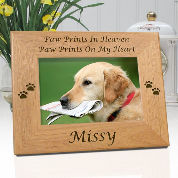 FREE SHIPPING Engraved Dog Paw Picture Frame Paw Prints In
