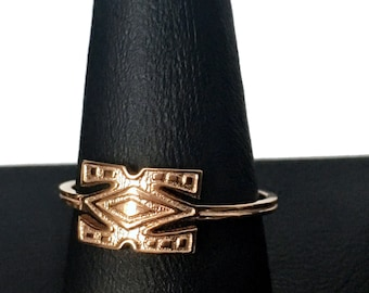 African Symbol Ring 14k Rose Gold Plated