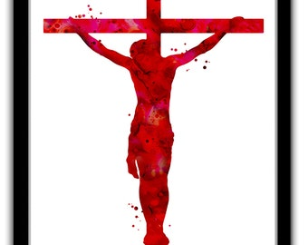 Jesus print, Jesus silhouette, Jesus art print, Jesus on the cross, christian art, Jesus Christ, Christ painting print, abstract Jesus