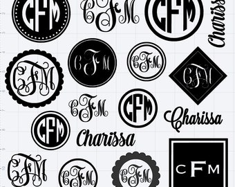 12 x 12 MONOGRAM SHEET of  VINYL Stickers - Assorted sizes available - you pick the color!