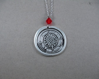 Wax Seal Look Compass Charm Necklace - Silver - Pirates of the Caribbean - Jack Sparrow