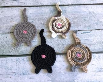 Crochet Cat Butt Coasters - Set of 4 - Ready to Ship