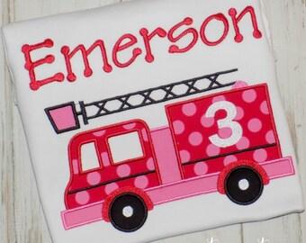 Firetruck birthday Shirt, Girl Fire truck shirt, Fire Engine shirt, Boy Firetruck shirt, Boy shirt, Girl Birthday Shirt, sew cute creations
