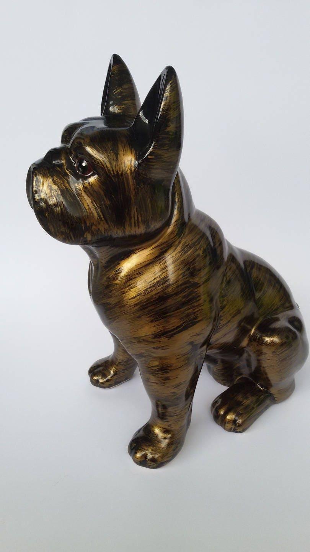 statue de chien bouledogue fran ais en c ramique mod le. Black Bedroom Furniture Sets. Home Design Ideas