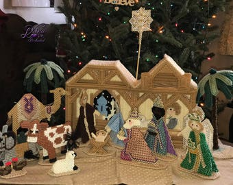 19 Piece Nativity Scene, Christmas Plastic Canvas Nativity Scene, Christmas Decoration, Christmas Nativity