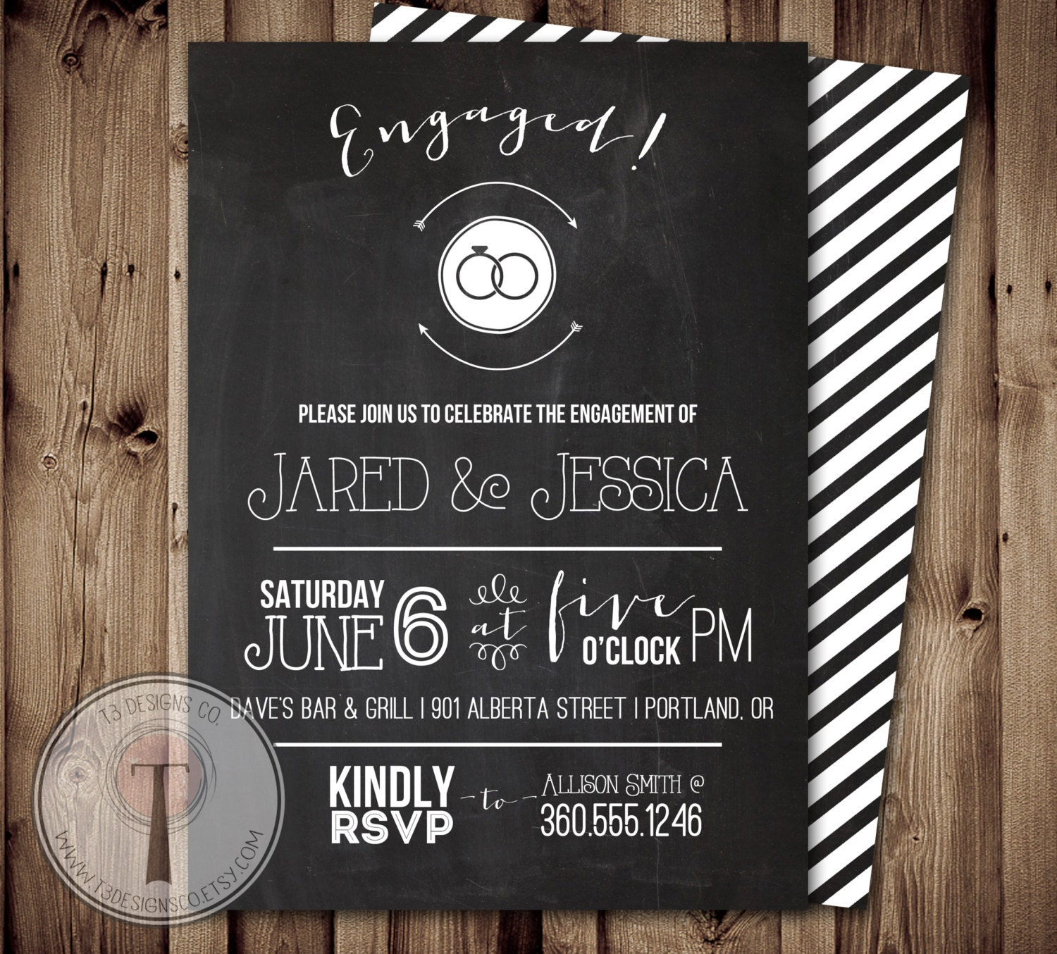 Chalkboard Engagement Party Invitation engagement party