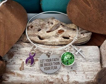 DP-1 Chiari Bracelet Crohns Awareness Ulcerative Colitis Fibromyalgia Jewelry Faith Bigger Than Fear Christian Faith Bracelet Gift For Her