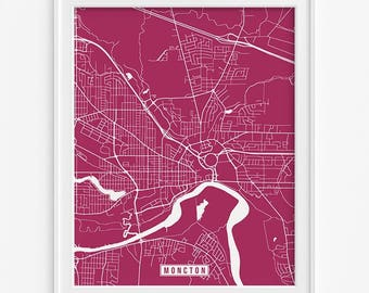 Moncton Print, Canada Poster, Moncton Poster, Moncton Map, Canada Print, New Brunswick Poster, Street Map, Canada Map, Mothers Day Gift