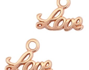 "DQ Metal Pendant ""Love""-3 pcs.-Zamak-color selectable (color: Gold)"