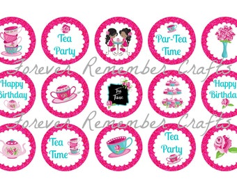 INSTANT DOWNLOAD Tea Time Birthday Party Bottle Cap Image Sheets *Digital Image* 4x6 Sheet With 15 Images