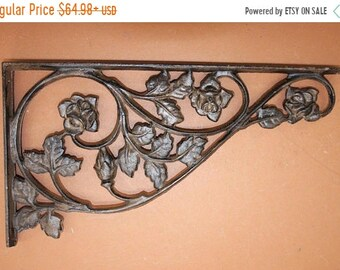14 % OFF Huge Wall Shelf Brackets Rose Garden Design Solid Cast Iron, 16 7/8 inch, Free Ship, B-20