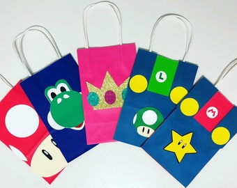 Super Mario inspired favor bags, Super mario party supplies