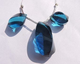 3 Pcs Set Beautiful Teal Blue Quartz Faceted Twisted Long Drops Briolette Size 26*15 - 19*10 MM