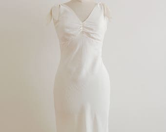 90s white silk dress with bows straps