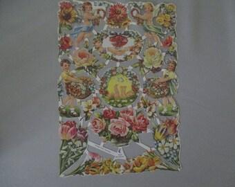 FREE SHIPPING 16 Vintage Die Cuts Dolls Cherubs Roses Flowers W. Germany DieCuts Scrapbook OOAK