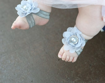 Baby Barefoot Sandals ~ Gray Flower Sandals ~ Toddler Sandals ~ Newborn Sandals ~ Babygirl Sandals ~ Flowergirl sandals, barefoot sandals
