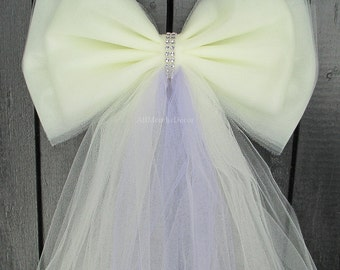 Tulle Pew Bow | Many Colors | Optional Silver or Gold Bling | Wedding Ceremony Decorations | Church Aisle Chair | Party Bridal Baby Shower