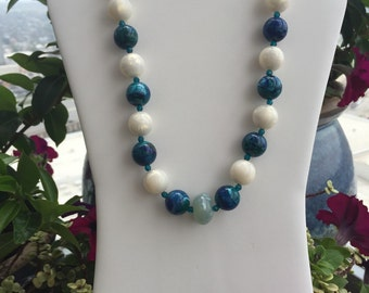 Vintage white, blue, green and turquoise necklace