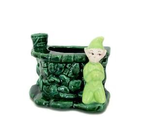 Vintage Elf Planter, 1960's Treasure Craft Pixie Elf Planter, Ceramic Elf Figurine, Indoor Planter, 1960's, Mid Century Modern Decor