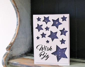 Birthday wishes card, papercut with wish big, stars, night sky