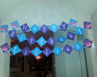 Princess Crowns Birthday Banner with name