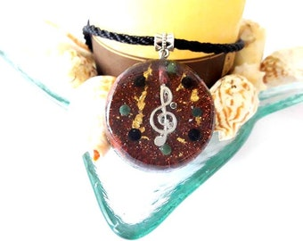 Treble clef Orgone Treble clef Pendant Organize music Music Key Orgone Necklace Orgone pendant Music jewelry Music gifts Treble clef Pendant