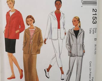 "Sewing Pattern for Hooded Jacket, Pants Trousers and Skirt Size 8 10 12 Bust 31.5-34"" McCall's 2153"