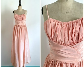 Vintage 1950s Pink Taffeta Maxi Gown Bridesmaid Backless Dress  / Size S