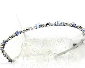 Blue and  silver beaded headband
