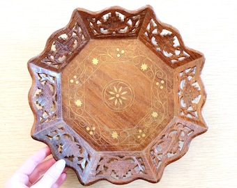 Carved wood tray with gold inlays/vintage Indian sheesham wood tray