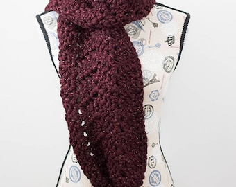 PDF Crochet Pattern - Garnet Waves Scarf