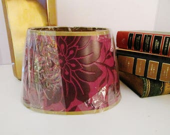 Pair Laura Ashley Lamp Shades, Gilded Paper Shades, Burgundy Lamp Shades,  Clap Lamp