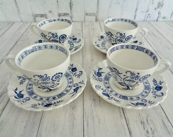 Meakin Nordic Vintage Classic White Nordic, Blue Onion, Blue And White Cups And Saucers, Set of Four Cups and Saucers, English Ironstone