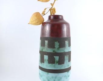 Mid Century Vase by VEB Haldensleben, Mid Century Modern Vase, Medium Sized Vintage Vase, Burgundy & Teal Glaze Vase, Retro Vase