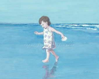 Beach card 5x7 girl running at the seashore, toddler, little girl, figures, ocean, children, shore, blue, seaside art, blank