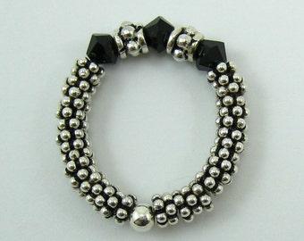 1 Sterling Silver Stretch Ring with Jet Black Swarovski Crystals (R1)