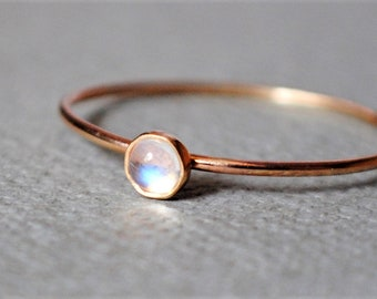 Moonstone Ring/14k Solid Gold/Gemstone/Birthstone/June/Thin Gold Ring/Yellow Gold/Stacking Ring/Custom Teeny Weenie Simple Stacker Moonstone
