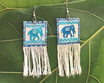 Mexican Handwoven Elephant Earrings With Fringe / Mexican Earrings / Mexican Embroidered Earrings