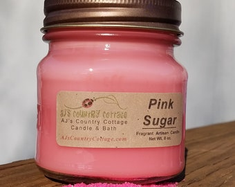 PINK SUGAR type CANDLE, Cotton Candy Candles, She Shed Candles, Designer Scents, Vanilla Candles, Caramel Candles, Women's Gift, Feminine